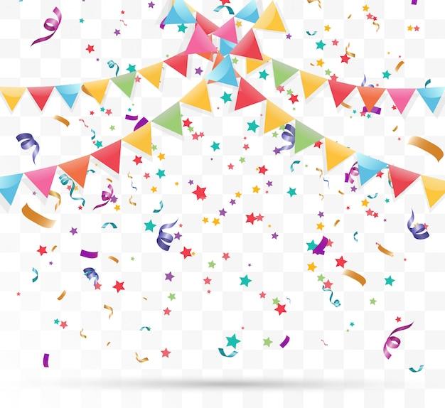 Confetes minúsculos coloridos e fitas em fundo transparente. evento festivo e festa.