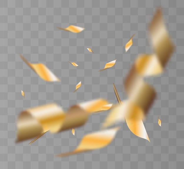 Confetes ouro isolado no fundo branco. comemore a ilustração
