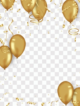 Confetti background and gold balloons ilustrações vetoriais