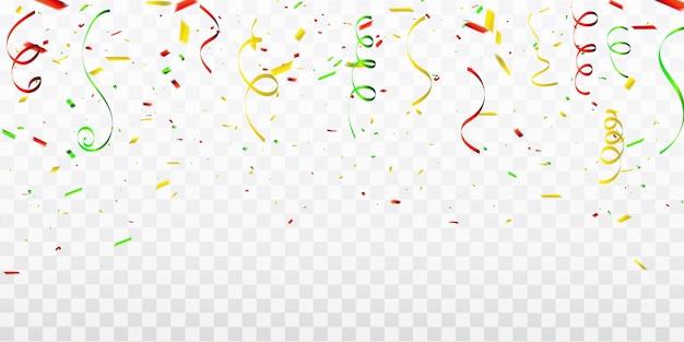 Confetti de celebração e fitas coloridas.