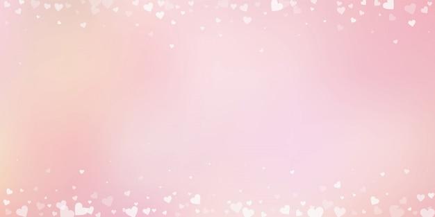 Confettis de amor coração branco. fronteira de dia dos namorados