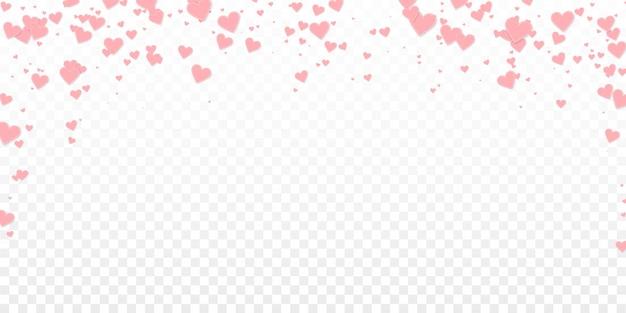 Confettis de amor coração rosa. dia dos namorados caindo