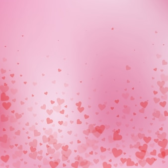 Confettis de amor coração vermelho. dia dos namorados caindo