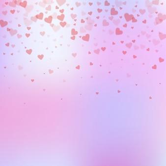 Confettis de amor coração vermelho. gradiente de dia dos namorados