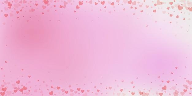 Confettis de amor coração vermelho. vinheta do dia dos namorados
