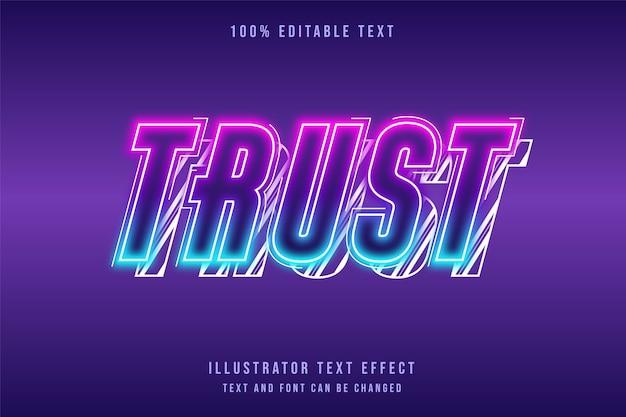 Confiança, efeito de texto editável gradação rosa roxo azul camadas efeito de texto