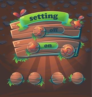 Configuração da janela da interface do usuário do jogo em madeira