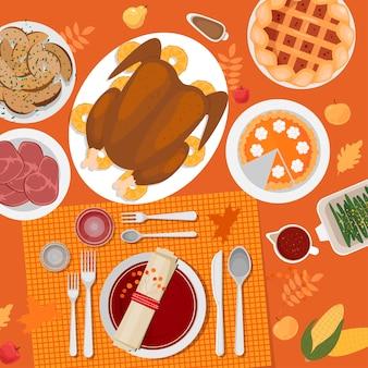 Configuração de mesa de ação de graças. peru, tortas, batatas, pratos, talheres, guardanapos, copos, abóboras, frutas e decoração. folhas e grãos de outono. vista do topo