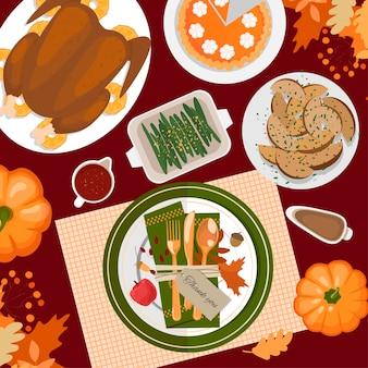 Configuração de mesa de ação de graças. peru, tortas, batatas, pratos, talheres, guardanapos, copos, etiqueta, abóboras, frutas e decoração. folhas e grãos de outono. vista do topo