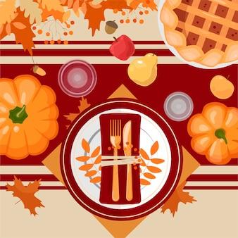 Configuração de mesa de ação de graças. pratos, talheres, guardanapos, copos, enfeites, abóboras, frutas e enfeites. folhas e grãos de outono. vista do topo