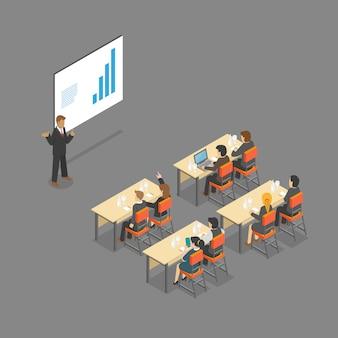 Configuração de sala de reunião isométrica de sala de aula