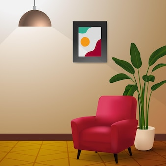 Configuração mínima do interior com ilustração moderna de cadeira vermelha