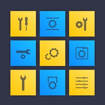 Configurações, configuração, desenvolvimento, ícones de instalação
