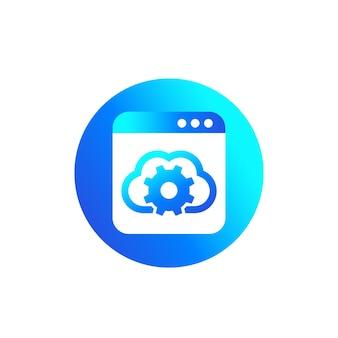 Configurações de nuvem, ícone de configuração de hospedagem para web