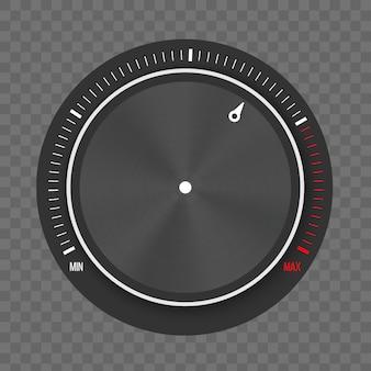 Configurações de tecnologia no nível do botão de discagem, botão de metal.