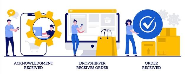 Confirmação recebida, remetente direto recebe pedido, conceito de pedido recebido. conjunto de suporte ao cliente.