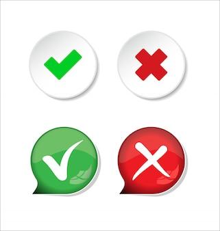 Confirmar e negar a marca de seleção e botão x ícone