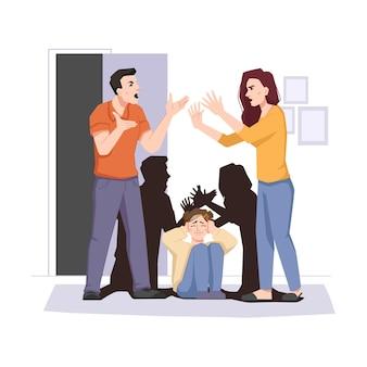 Conflito familiar casal brigando e filho com medo
