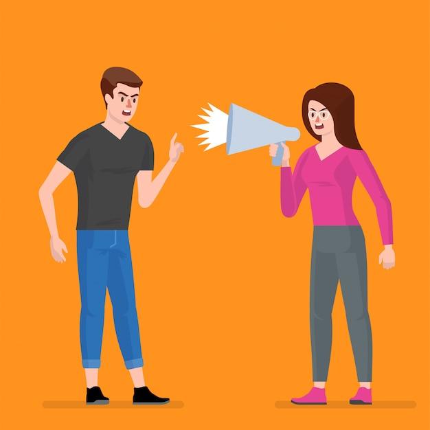 Conflito. um homem e uma mulher brigam.