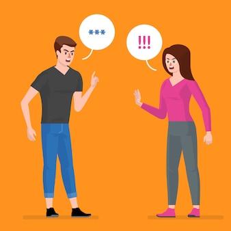 Conflito, um homem e uma mulher brigam,
