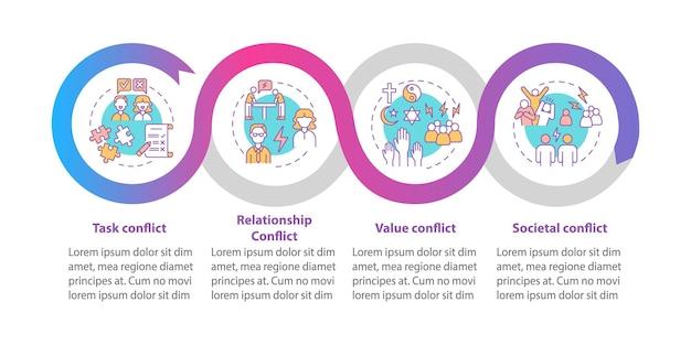 Conflitos diferentes vetor modelo infográfico. elementos de design de estrutura de tópicos de apresentação de comunicação. visualização de dados em 4 etapas. gráfico de informações do cronograma do processo. layout de fluxo de trabalho com ícones de linha