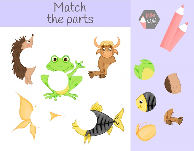 Conformidade com o jogo educativo infantil. combine partes de animais. encontre os puzzles que faltam