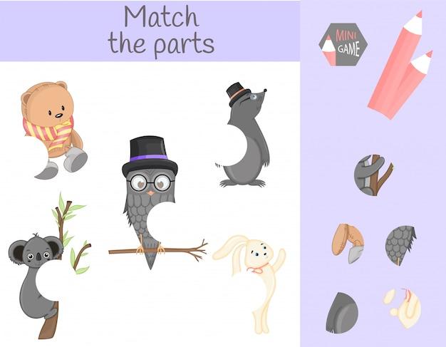 Conformidade com o jogo educativo infantil. combine partes de animais. encontre os quebra-cabeças que faltam