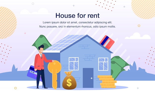 Confortável casa para aluguel oferta plana vector banner