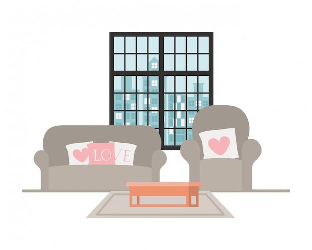 Confortável sofá e cadeira em casa