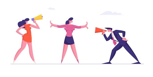 Confronto entre homem de negócios e mulher discutindo e gritando no megafone