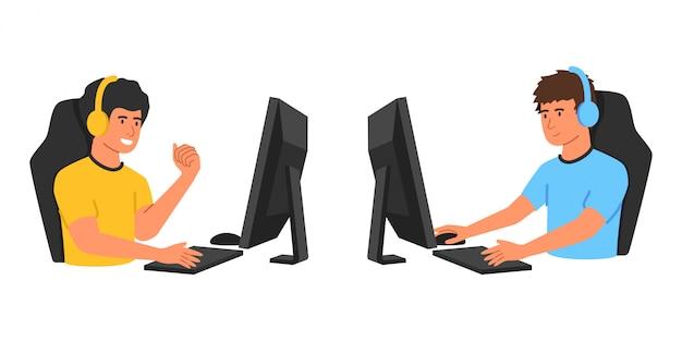 Confronto entre os dois jogadores profissionais em videogame online. desenhos animados do conceito esport com dois jogadores em fones de ouvido e com teclado e mouse de computador.