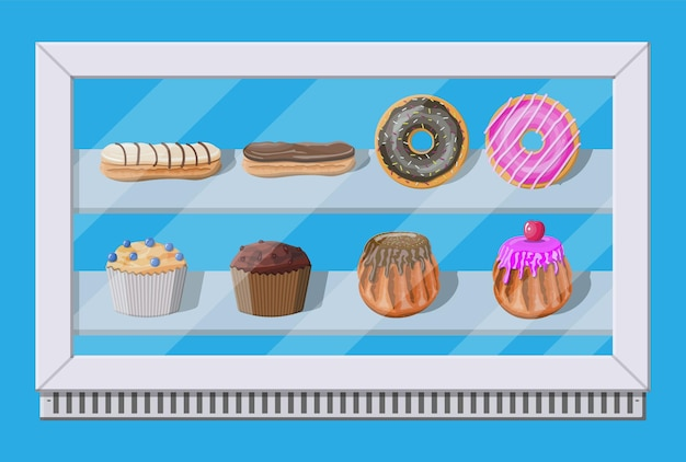 Congelador de vitrine de padaria com bolos e pastelaria. donut, muffin, cupcake e eclair. ilustração vetorial em estilo simples