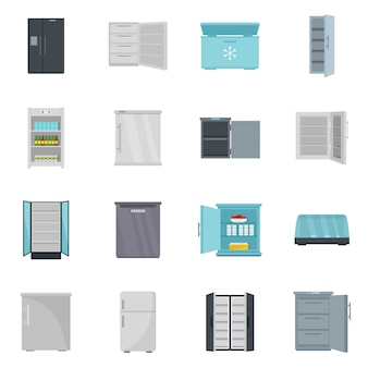 Congelador geladeira congelada gelo conjunto de ícones