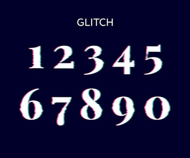 Congelados, falha, tela, distorção, vetorial, números, pretas