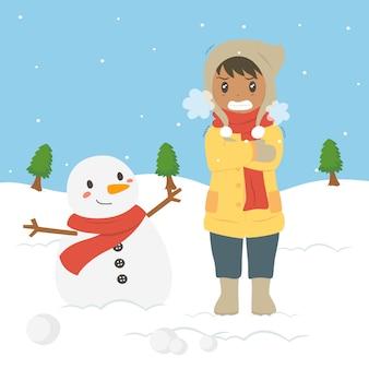 Congelando o jovem rapaz afro-americano na ilustração em vetor frio inverno
