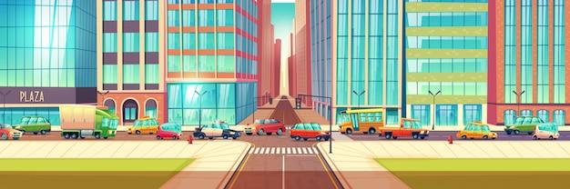 Congestionamento de tráfego no conceito de vetor de cidade dos desenhos animados