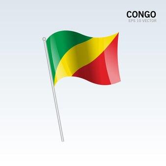 Congo agitando bandeira isolada em cinza