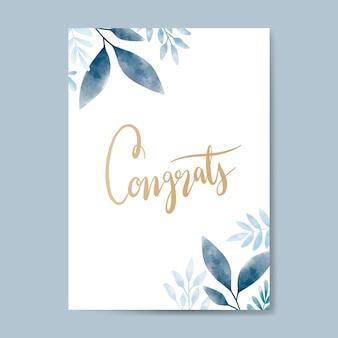 Congrats aquarela cartão design vector