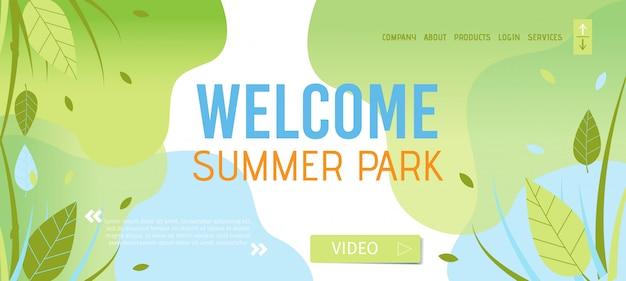 Congratulando-se com o modelo de página de destino do summer park