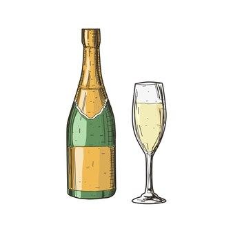 Conhaque e copo no estilo vintage isolado no branco