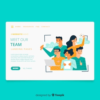 Conheça nossa página de destino do conceito de equipe