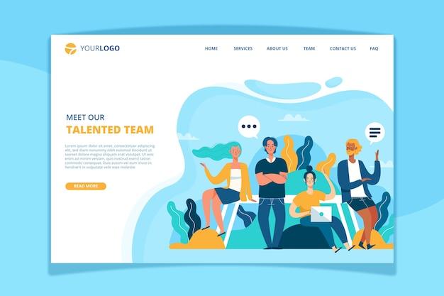 Conheça nosso modelo de página de destino da equipe
