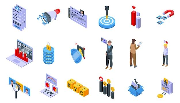 Conheça o conjunto de ícones do cliente isométrico vetor. cartão cms