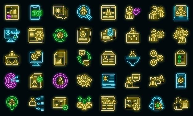 Conheça o vetor de contorno de conjunto de ícones de seu cliente. dados cms do cartão. negócio digital do cliente