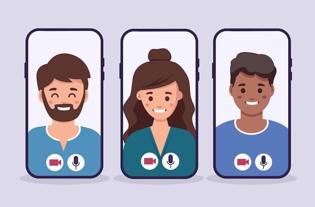 Conhecer a empresa por videoconferência em videoconferência no bate-papo do smartphone com grupo de pessoas
