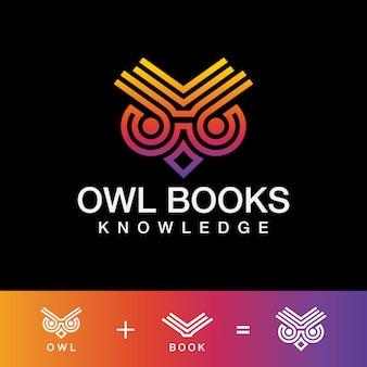 Conhecimento coruja livros logotipo de arte moderna de linha.