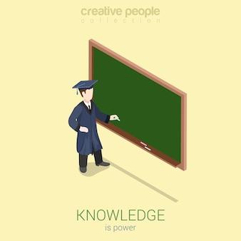 Conhecimento ganhando universidade, formatura do ensino médio, web plana 3d