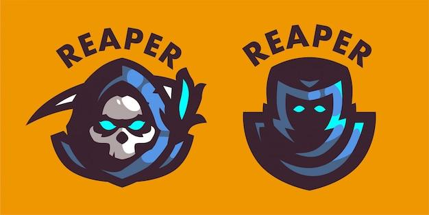 Conjunto 2 logotipo do jogo mascote ceifador
