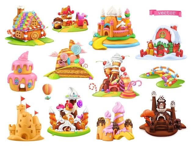 Conjunto 3d de casas e castelos doces
