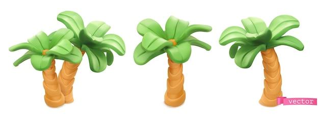 Conjunto 3d de desenhos animados de palmeiras